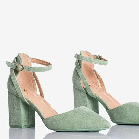 Green cut-out pumps on a higher post Party Time - Footwear 1