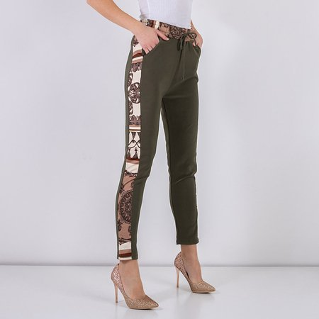 Green patterned women's trousers - Clothing