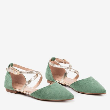 Green women's flat ballerinas Vosia - Footwear