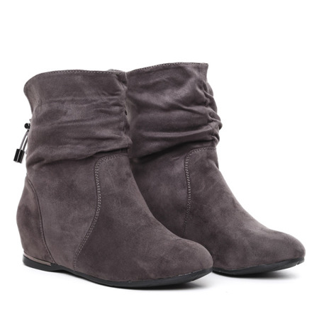 Grey ankle boots from eco suede covered wedge heel Lallen - Footwear