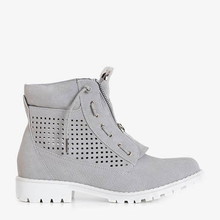 Ice Love gray women's openwork hiking boots - shoes