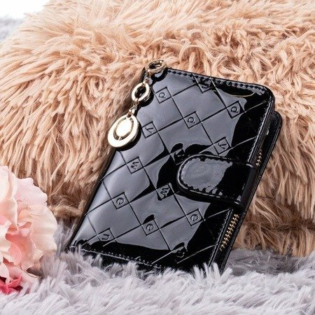 Lacquered small women's wallet in black - Wallet