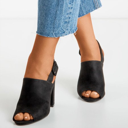 Ladies' black sandals with a Flower Hill upper - Footwear