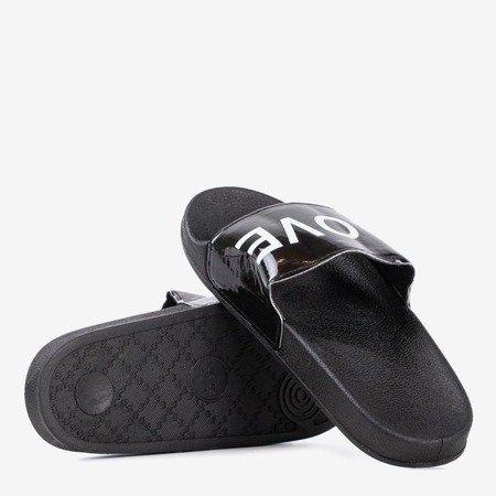Ladies' black slippers with HATE & LOVE inscription - Footwear