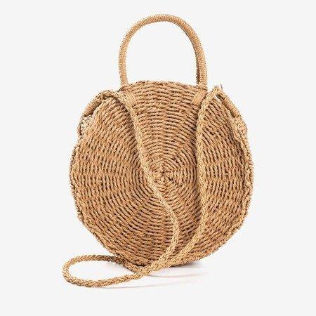 Ladies 'brown round straw bag - Handbags