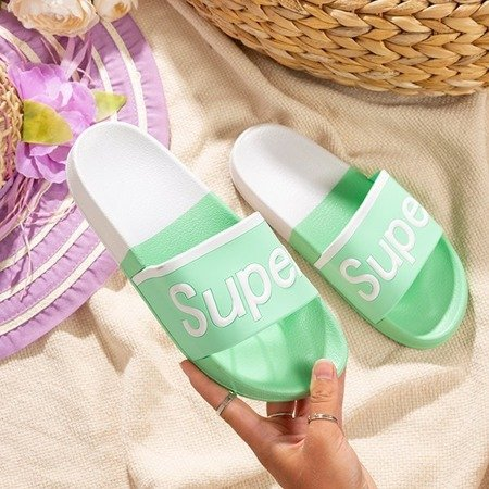 Ladies 'mint slippers with Supera inscription - Footwear
