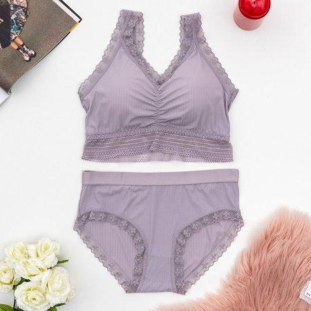 Ladies' purple lingerie set with lace - Underwear