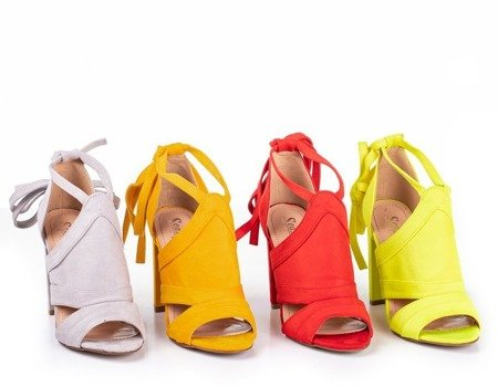 Ladies' red sandals on a high post with Lanaline shank - Footwear