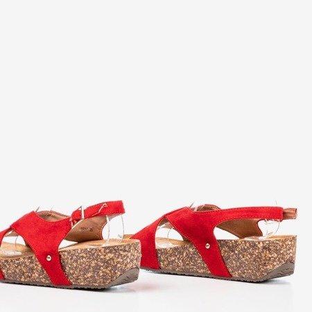 Ladies 'red sandals on a thick Strolla platform - Footwear