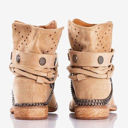 Light brown cowboy boots on an indoor wedge Salemi - Footwear 1