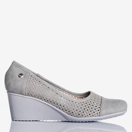 Light gray wedge heels with an openwork Poliassa finish - Footwear