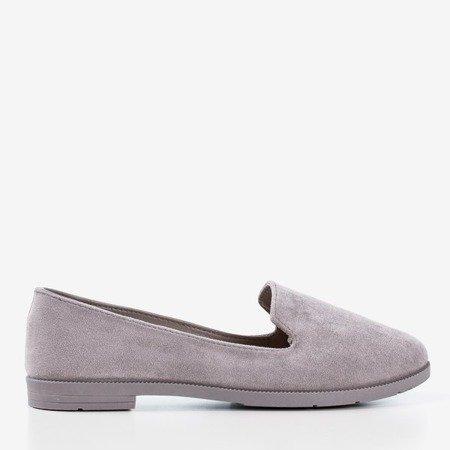 Light gray women's loafers eco-suede Mossolia - Footwear 1