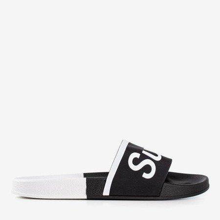 Men's black slippers with Super inscription - Footwear