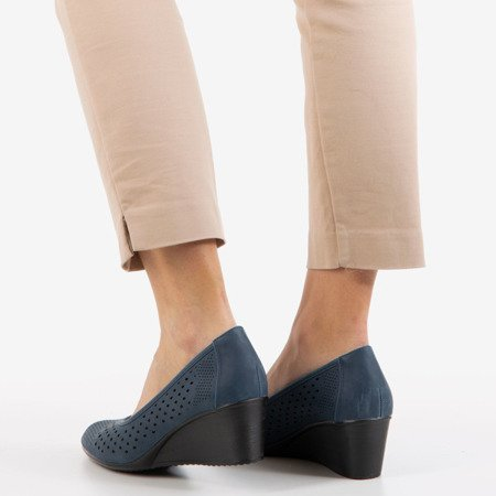 Navy blue pumps with openwork Polia finish - Footwear 1