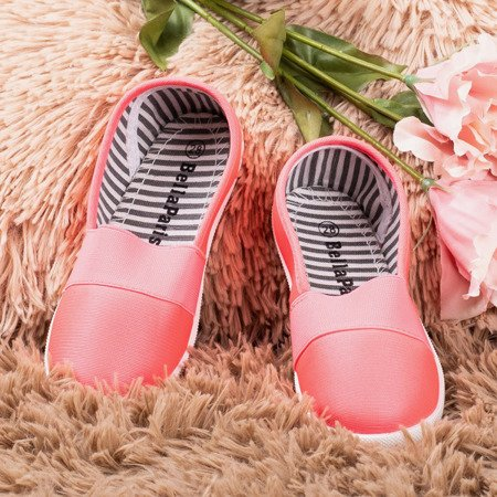 Neon pink slip-on children's sneakers Sweety - Footwear 1