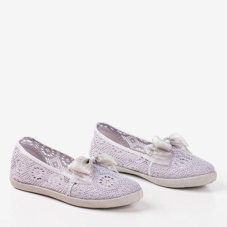 Normitta gray lace ballerinas for children - Footwear