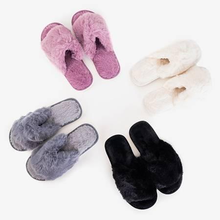 Novita white women's slippers with fur - Footwear