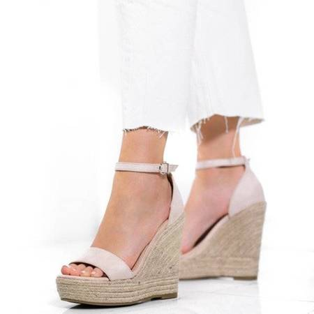 OUTLET Beige high wedge sandals Carrie - Shoes