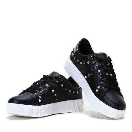 OUTLET Black Sneakers with Studs and Cubic Zirconia Caterine - Footwear
