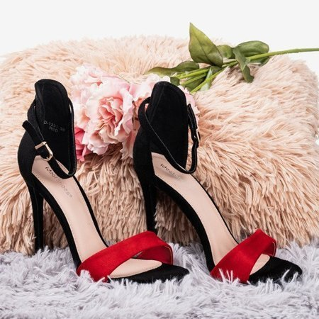 OUTLET Black and red women's sandals on a high heel Gold Rush - Footwear