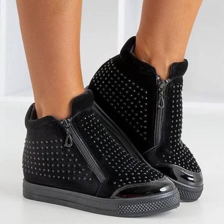 OUTLET Black women's sneakers on a hidden wedge Haveria - Footwear
