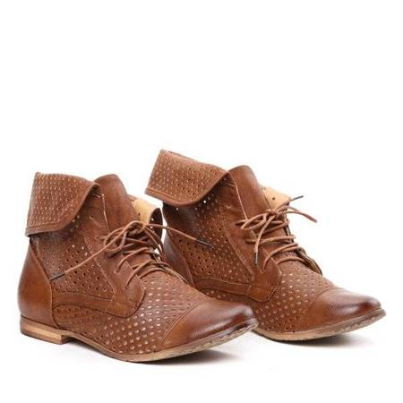 OUTLET Brown boots with an openwork upper - Shoes