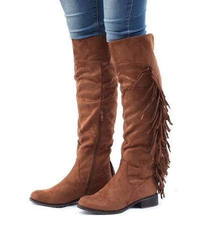 OUTLET Brown boots with fringes - Footwear