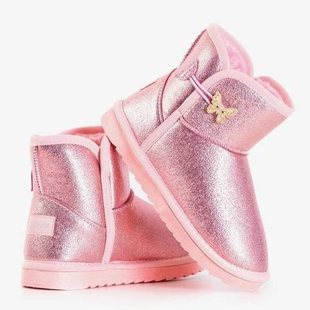 OUTLET Pink children's snow boots with butterfly Umabela - Footwear