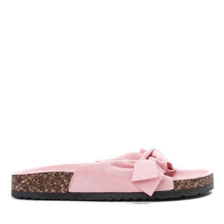 OUTLET Pink slippers with a Montiana bow - Shoes