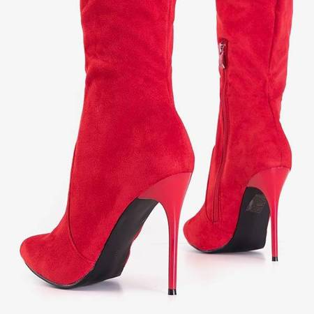 OUTLET Red women's boots on a high heel Erlinda - Shoes