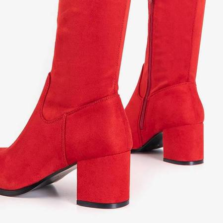 OUTLET Red women's boots over the knee Elvina- Shoes