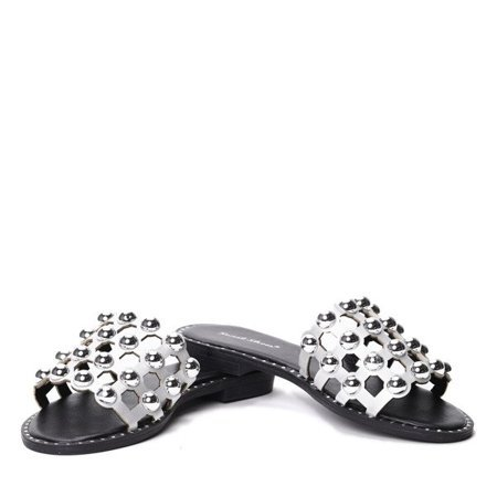 OUTLET Silver slippers with Kelja jets -Shoes