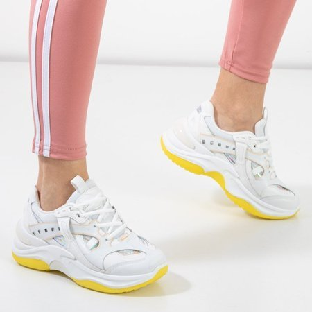 OUTLET White and yellow trainers with holographic inserts Etana - Footwear