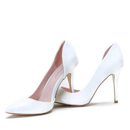 OUTLET White high heels with a cut Musa - Footwear