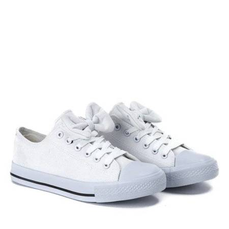 OUTLET White sneakers with a decorative bow Lisyy - Footwear