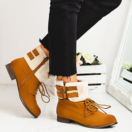 Onani brown boots with sheepskin - Footwear