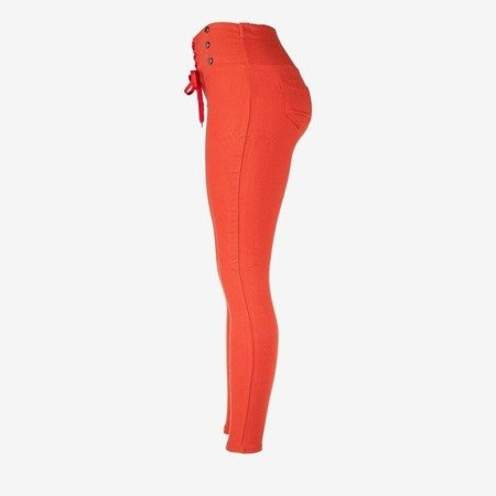 Orange women's tied trousers with ties - Trousers 1