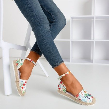 Patterned espadrilles for women in white Citiva - Footwear 1