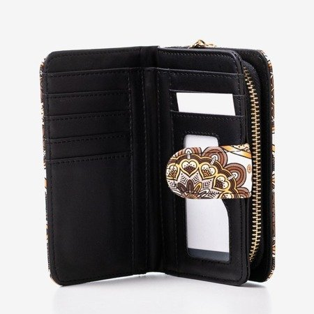 Patterned small women's wallet in brown - Wallet