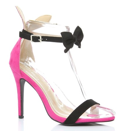 Pink Rokarde sandals with a black bow - Shoes