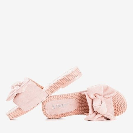 Pink flip-flops with a bow Sabella - Footwear 1