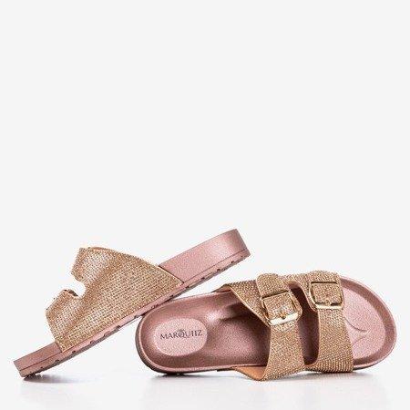 Pink - gold flip-flops with cubic zirconia Joess - Footwear 1