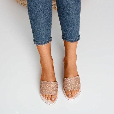 Pink - gold women's flip-flops with cubic zirconia Rocca - Footwear 1