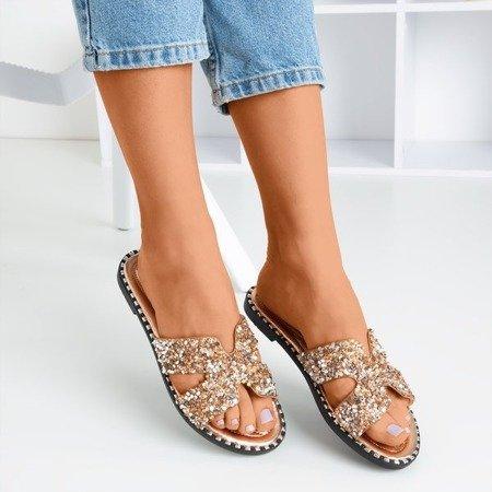 Pink - gold women's flip-flops with sequins Hemessa - Footwear 1