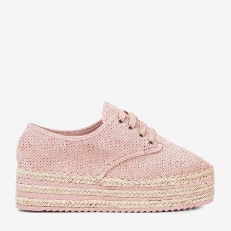 Pink openwork shoes on the Harness platform - Footwear 1