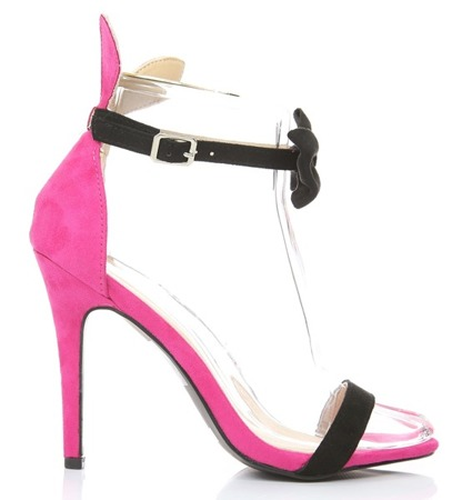 Pink sandals with a black bow Rokard- Footwear