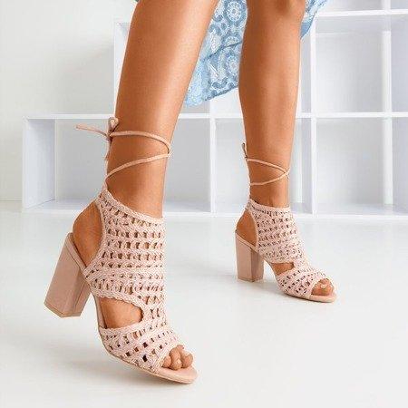 Pink straw sandals on a higher post Villaga - Footwear