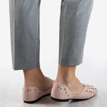 Pink women's ballerinas with Emanossa pearls - Footwear 1