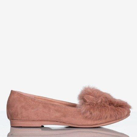 Pink women's ballerinas with fur and ears Darya - Footwear