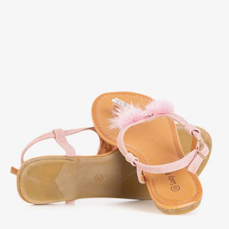 Pink women's sandals with Begneti ornaments - Footwear
